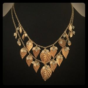 Gold Leaf Necklace Matching Earrings